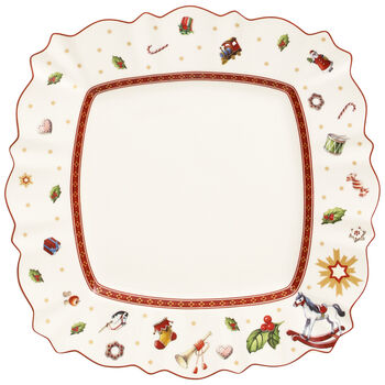 Toy's Delight Square Dinner Plate 11 x 11 in