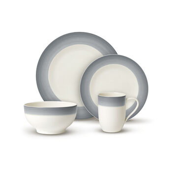 Colorful Life Cosy Grey 8 Piece Dinner Set for 2