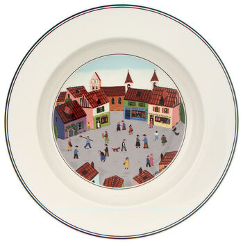 Design Naif Assiette creuse Village 21cm